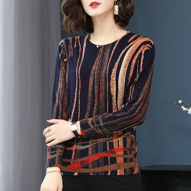YISU fashion Sweater Spring Autumn Warm Pullovers Sweater Women stripe Printed Sweaters Female soft Knitted sweaters