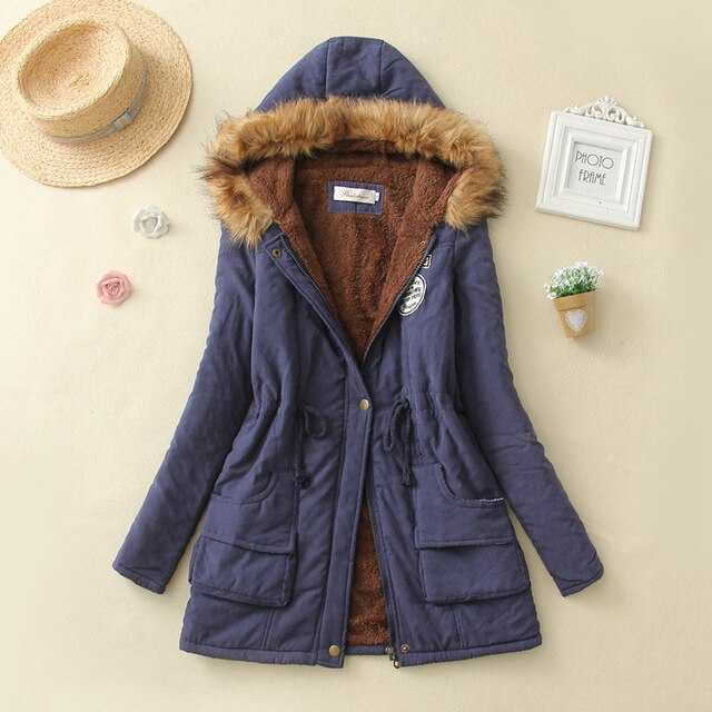 Autumn Winter Jacket Women Parka Warm Jackets Fur Collar Coats Long Thickening Parkas Hoodies Office Lady Cotton Women Winter