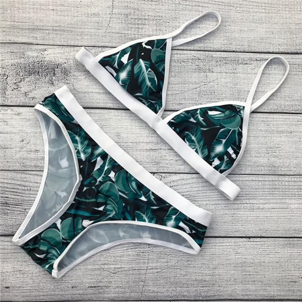 flower pattern green leaf women bikini adjustable strap swimsuit bathing suit padded swimwear-Bottoms-SheSimplyShops