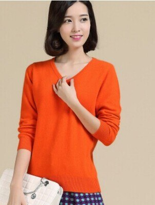 Autumn Spring Women V neck Knit candy color Sweater Outerwear Pullover Tops Knitted Cashmere Sweater Women