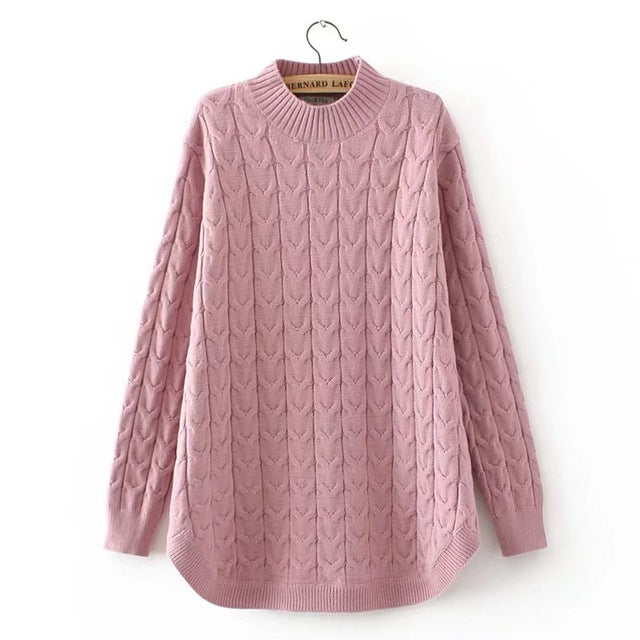 plus size Criss Cross winter women pullovers black Turtleneck Knitted casual ladies oversize sweater wool female 4XL pink