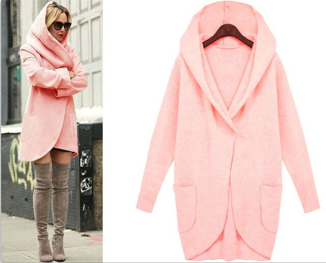 Winter Coat Women Trench Coats Pocket Long Sleeve Hooded Women Overcoat Cotton Blend Cardigans hoodies coat Plus size 5XL