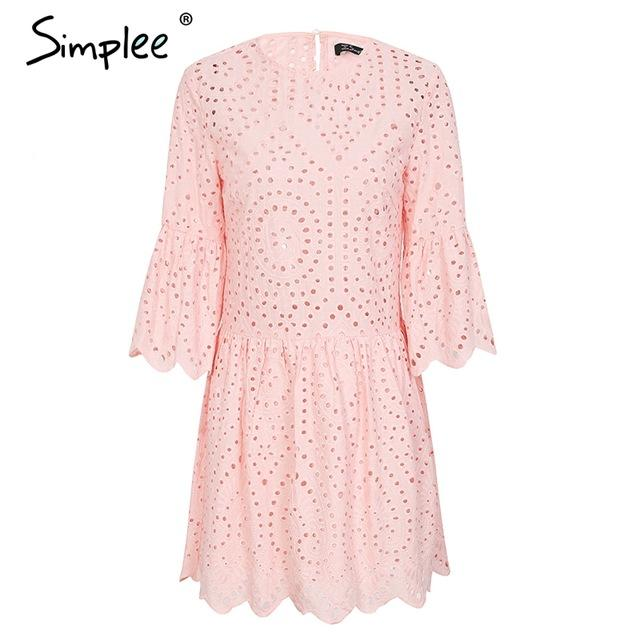 Cotton lace embroidery mini dress women Button ruffle sleeve casual dress Spring hollow out short dress-Dress-SheSimplyShops