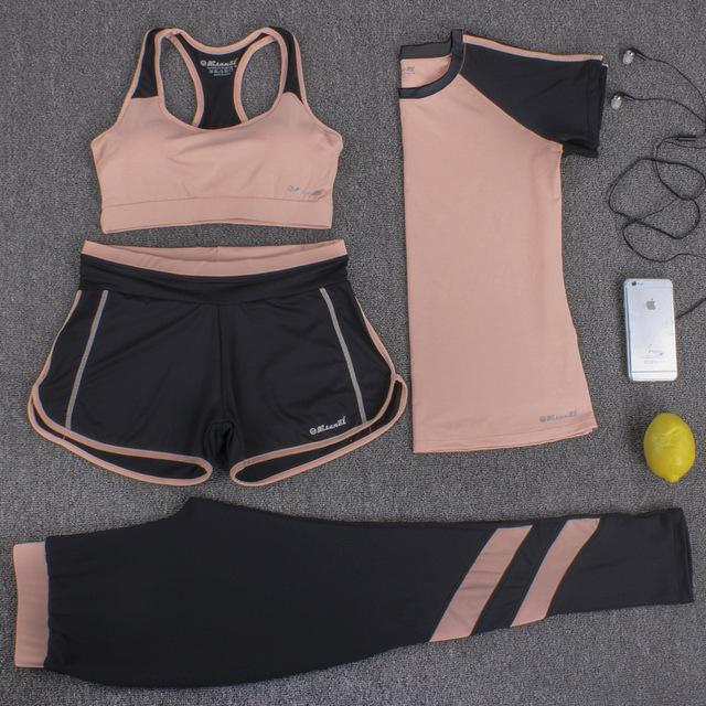 New Sports Suit Women Yoga Set Fitness Suit Sports Bra T-shirt Shorts Sports Pants 4 IN 1 Sportswear Breathable-SheSimplyShops