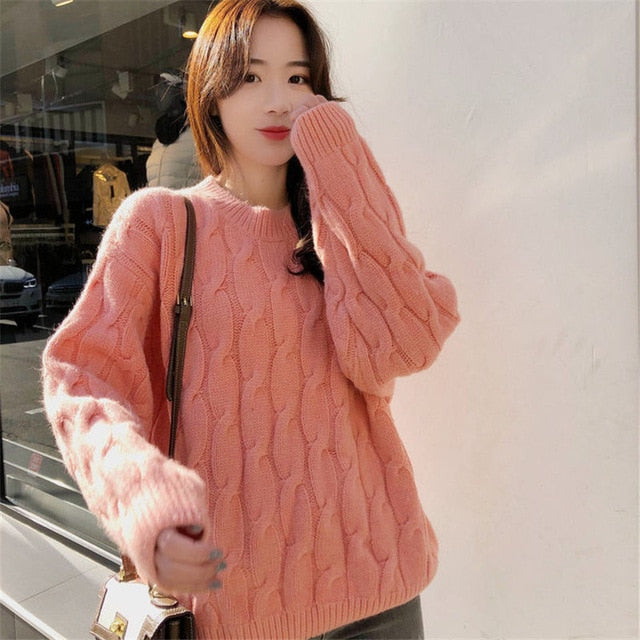 Women Sweaters Long Sleeve Twist Knitted Women's Pullovers Female Winter O Neck Ribbed Short Warm Sweaters Mujer Pull Femme
