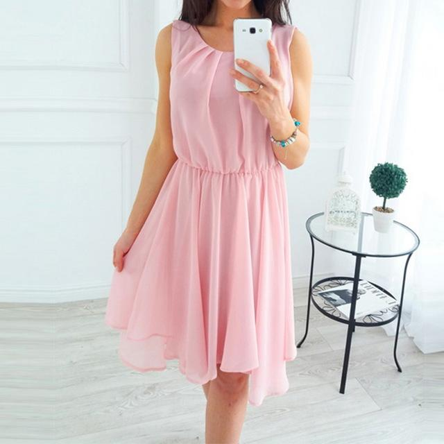 Summer Beach Dresses Sleeveless Boho Dress Women O-neck Loose Elastic Femme Mini Sundress-Dress-SheSimplyShops