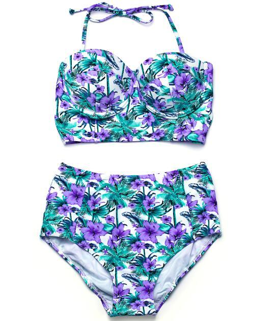 Bikini Push up Swimwear High Waist Swimsuit Women Floral Bikini Set Beach Wear Bathing Suit Halter Swimming Suits-SWIMWEAR-SheSimplyShops