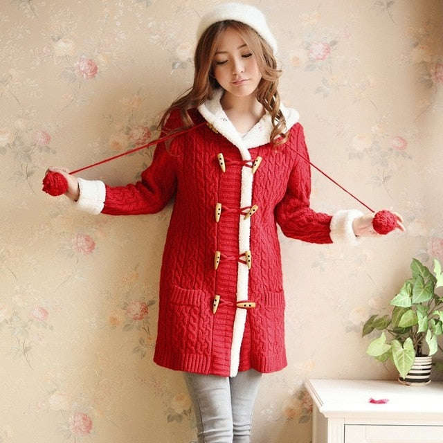 Spring Winter Women Thick Sweater Coat Causal Single Breasted Hooded Knitted Cardigan Coat Long Sleeve Warm Slim Sweater Jacket