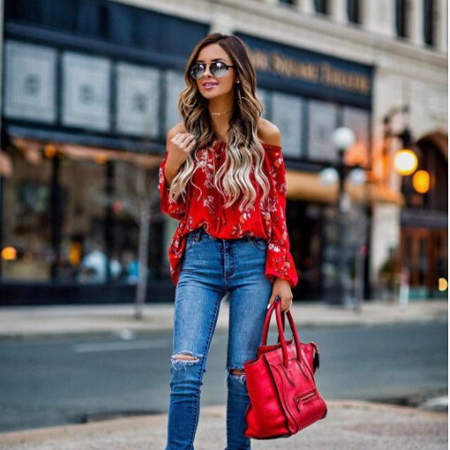 New Women Off Shoulder Tops Red Slash Neck Floral Autumn Long Sleeve Shirt Casual Blouse Loose Crop Top-Blouse-SheSimplyShops