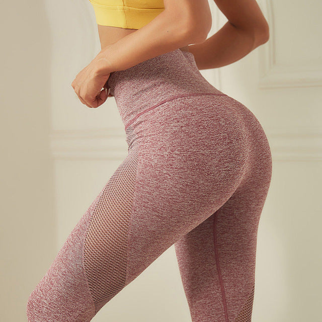 Hollow Out Seamless Yoga Leggings Sports Capris Women Gym Scrunch butt Leggings Sweatpants Running Tights Tummy Control Leggings