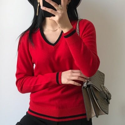 LHZSYY Spring and Autumn Women's Cashmere Sweater Color Matching V Neck Wool Knit Pullover Short Sweater Soft Shirt