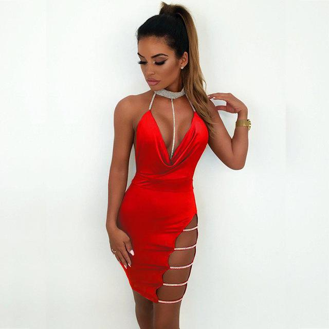 Diamante Choker Sequin Dress Halter Backless Summer Dress Women Bodycon Dress Sexy Crystal Club Party Dresses Mini-SheSimplyShops