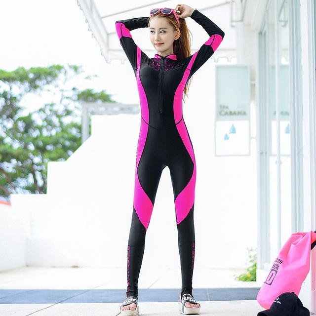 Lace Wet suit Women Zipper Swimsuit Full Body Jumpsuits Diving suit Rash Guard Wet suits for Swimming Surfing Sports Clothing-SheSimplyShops