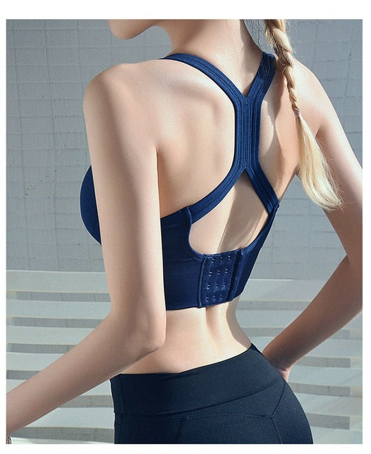 Sports Bra Solid Back Yoga Tank Top Women Fitness Push up Gym Shockproof Seamless Shirt Running Workout Fast Dry Vest