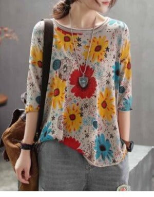 Spring Retro Flower Printing Thin Bottoming Shirts Elastic Knitting Patchwork Loose sweaters for woman