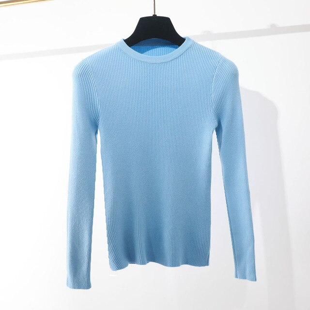 NEW thin basic o neck spring Autumn Sweater pullovers Women Soft female Knitted Pull girl sweater long sleeve knit top
