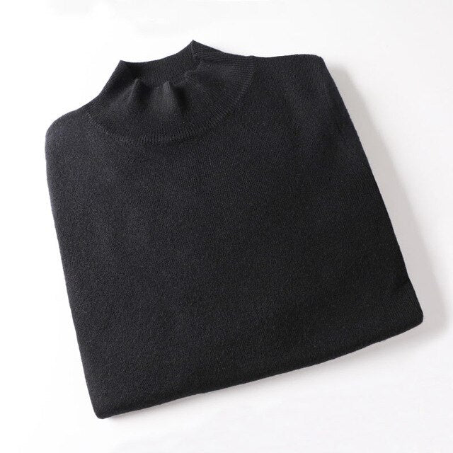 WOTWOY Cashmere Knitted Women Sweater Pullovers Turtleneck Autumn Winter Basic Women Sweaters Korean Style Slim Fit Black