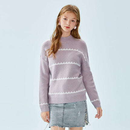 SEMIR Women Fine Knit Sweater Contrasting Stripe Women's Dropped Shoulder Sweater with Ribbed Mock Turtleneck Cuff and Hem