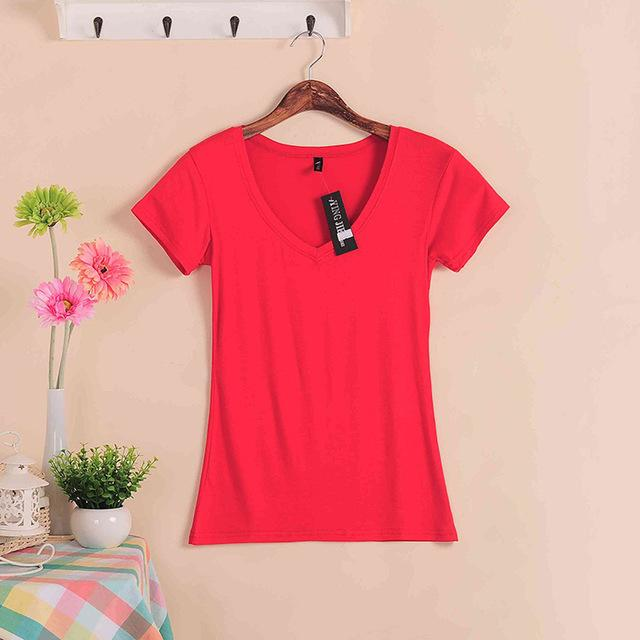Stretch Summer New Women T Shirts Ms Solid Color Short Sleeve Women's Fashion Cotton V-neck T-shirt-Blouse-SheSimplyShops