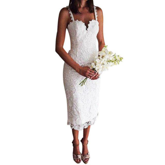 Summer Lace Dress Design Sexy V Neck Spaghetti Strap Bodycon Midi Dresses Lace Hollow Out-Dress-SheSimplyShops