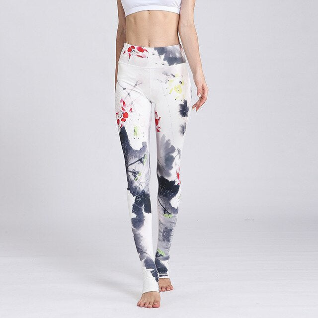 Fitness Yoga Pants Women Leggings Floral Workout Sports Running Leggings Push Up Gym Training Wear Elastic Slim Pants