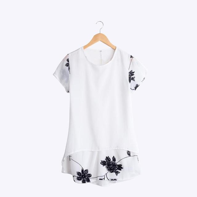Chiffon Blouse Women Clothing Loose Short Sleeve Embroidery Flower Print Patchwork White Tops-Blouse-SheSimplyShops