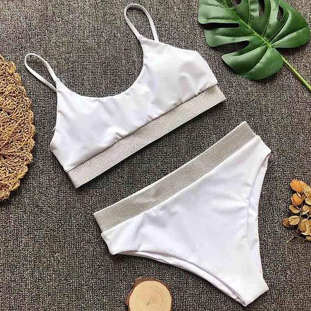 Women Swimwear Solid Bikini Set High Waist Swimsuit Patchwork Bathing Suit-SWIMWEAR-SheSimplyShops