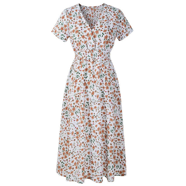 GOPLUS Floral Print Chiffon Women Dress V Neck Short Sleeve Midi Boho Dress Ladies Summer Beach Vintage Vestido Female