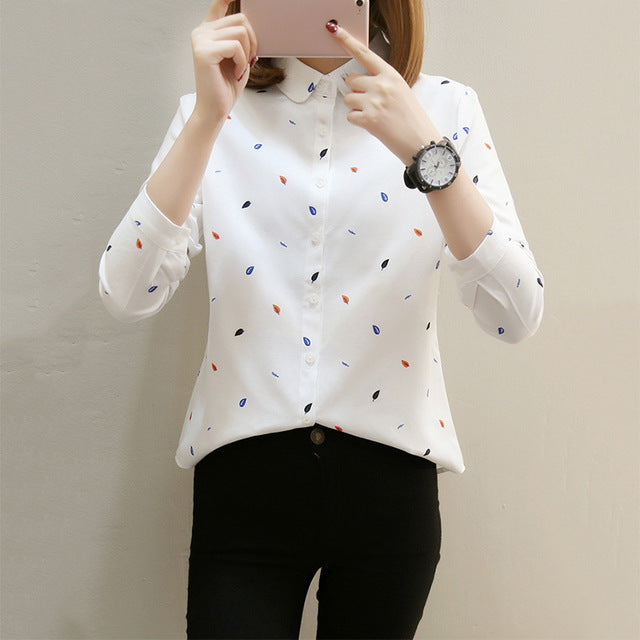 GOPLUS Elegant Leaf Print Blouses Women Soft Cotton Long Sleeve Office Shirts Ladies Casual Loose Clothing Female Tops