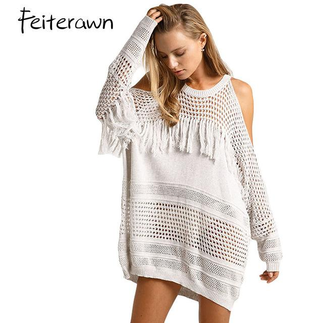 Women Summer Holiday Long Sleeve Beach Dress Cold Shoulder Pullover Fringe Knit Cover Up sexy Swimwear-Dress-SheSimplyShops