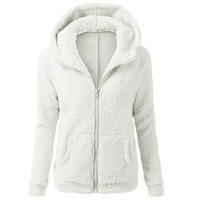 Plush Sweater Women Autumn And Winter Plus Velvet Thick Coat Zipper Womens Jumper Soft Hooded Sweater Pull Femme Hiver