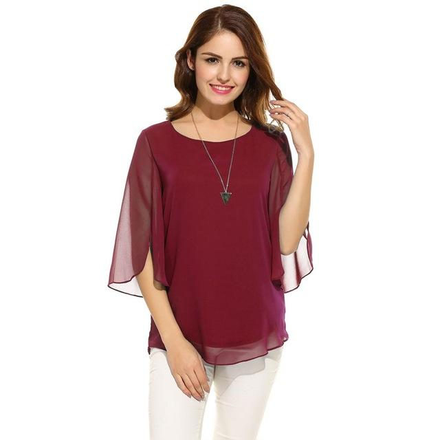 Women's Blouse Summer Autumn Casual Flare Sleeve O Neck Solid Loose Pullover Chiffon Blouse Shirt Tops-Blouse-SheSimplyShops
