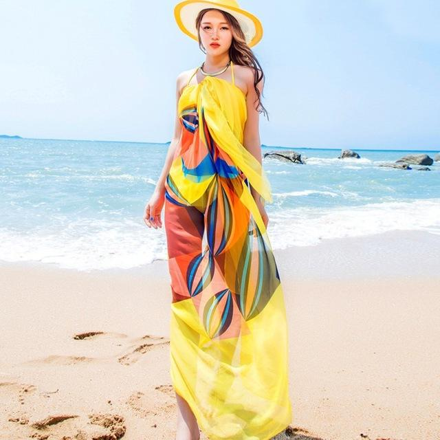 Summer Scarf Women Beach Sarongs Beach Cover Up Summer Chiffon Scarves Geometrical Design Towel-SCARVES-SheSimplyShops