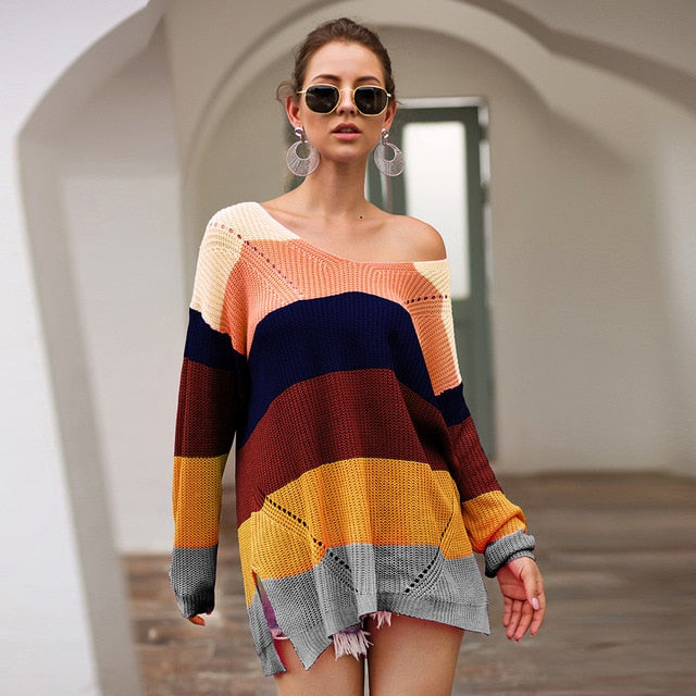 Missufe Autumn Winter Long Sleeve Sweaters Women Split Pullovers Jumpers Female Knitted Loose Chic Rainbow Patchwork Sweaters