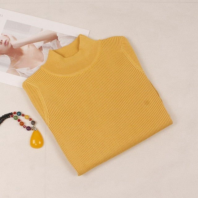 GIGOGOU Autumn Winter Women Pullovers Sweater Knitted Elasticity Casual Jumper Basic Slim Warm Female Sweaters Top