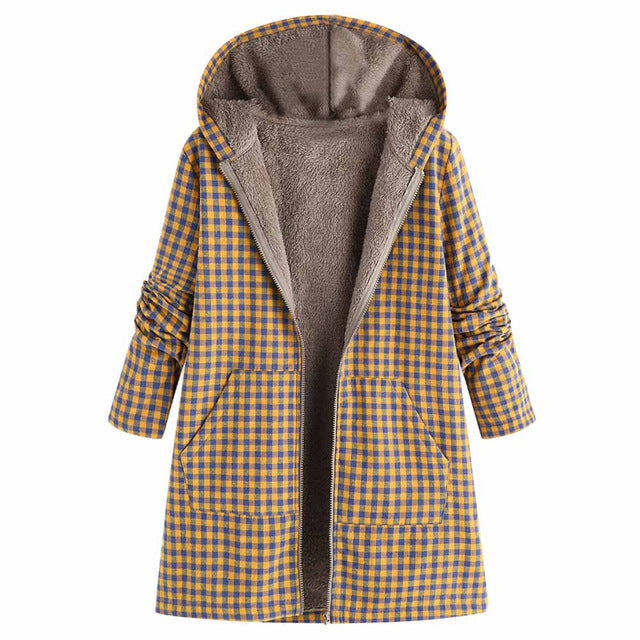 Women Winter Warm Outwear Zipper Plaid Print Pocket Vintage Oversize Coat Oversize Hoodies Jacket Overcoat Top pocket female