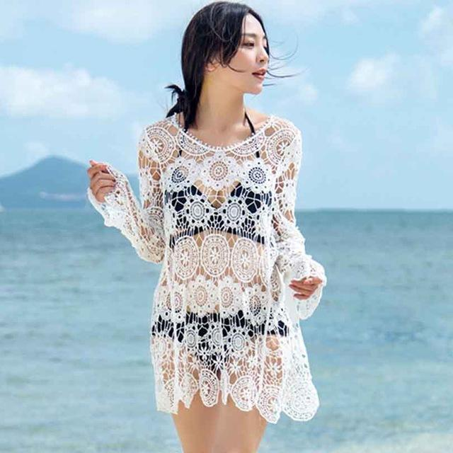 Bikini cover up hollow out lace embroidery crochet tassel beach wear swimming bathing suit-SWIMWEAR-SheSimplyShops