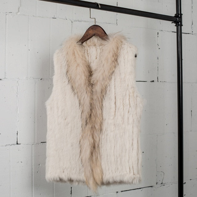 VT7008 shipping womens natural real rabbit fur vest with raccoon fur collar waistcoat/jackets rabbit knitted winter