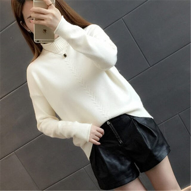 Knitted And Pullovers women sweater Autumn Winter Casual Turtleneck long sleeve Criss Cross Striped Loose female sweater
