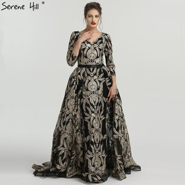 Black V-Neck A-Line Vintage Evening Dresses New Embroidery High-end Evening Gowns-SheSimplyShops