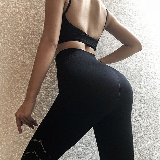 High Waist Exercise Tight Fitting Pants Women Hollow Out Pink Ankle Yoga Pants Seamless Quick dry Training Gym Sports Leggings