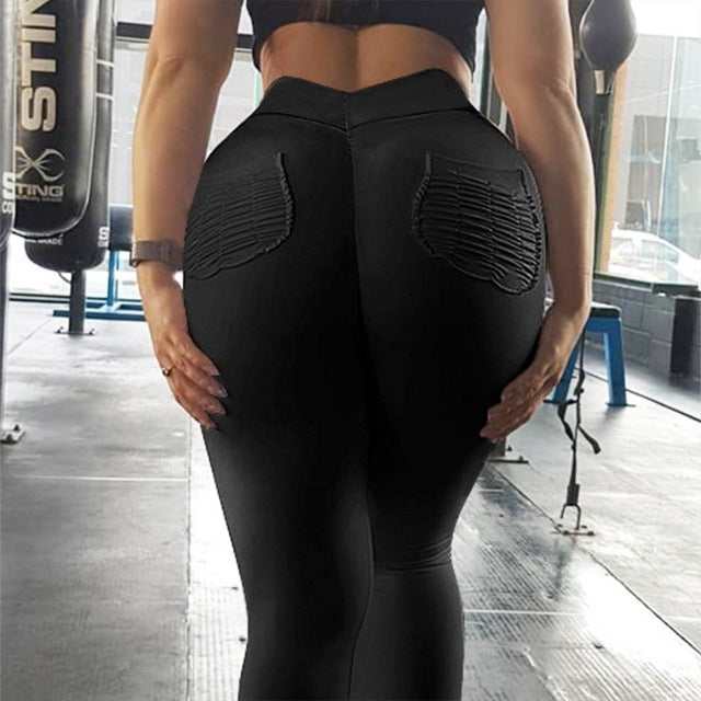 Women Yoga Pants Sports Running Sportswear Stretchy Fitness Leggings Seamless Scrunch back pockets Gym Compression Tights Pants
