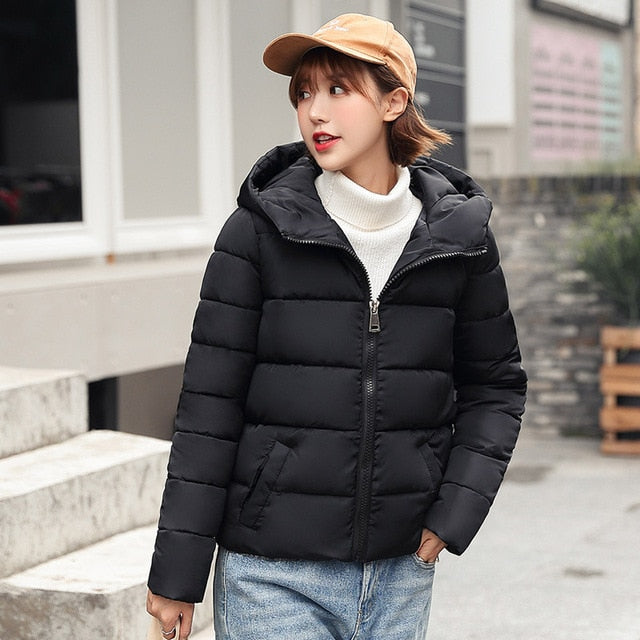 Women short parkas Winter Jacket coat Autumn Solid Warm Thicken hooded Padded Down Parkas Female Top Clothing Coat