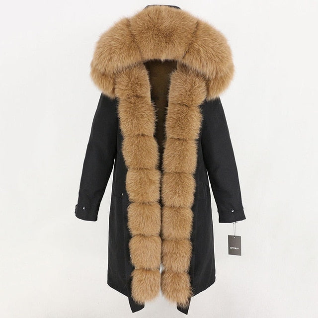 OFTBUY Waterproof Fur Coat X long Parka Winter Jacket Women Natural Fox Fur Collar Hood Thick Warm Outerwear Detachable