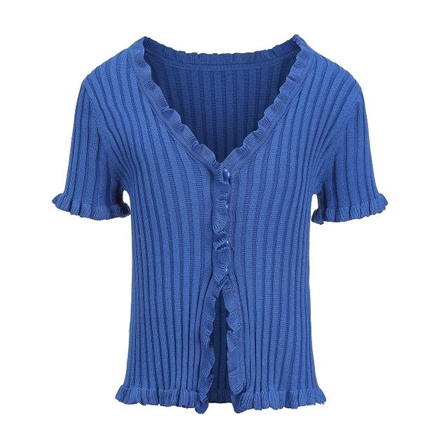 Women Ruffle Trim Crop Knit Cardigan with Short Sleeve Deep V Neck Crop Knit Tops