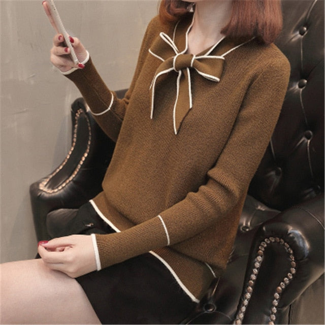Preppy Women Sweaters and Pullovers Ladies Cute Knitwear Tops Oversize Autumn Winter Bow Collar Knitted Pull Femme PZ884