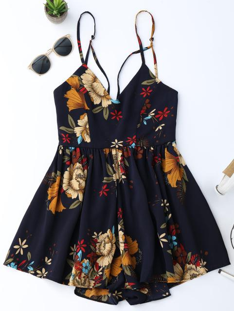 Women Boho Sexy Playsuit Summer Floral Print Sexy Criss Cross Floral Beach Wear Romper women sexy short Jumpsuits-ROMPERS & JUMPSUITS-SheSimplyShops