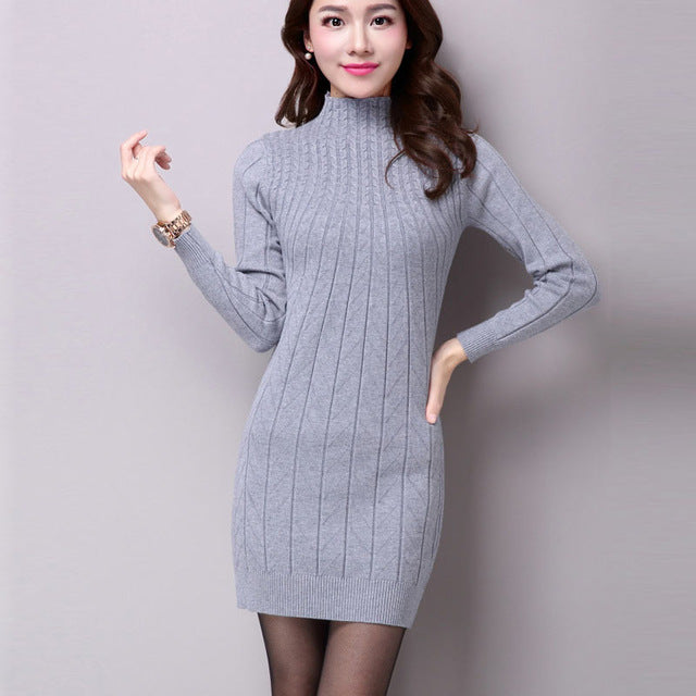 UPPIN Autumn Winter Middle aged Women Long Paragraph Wool Bottoming Shirt Wild Warm Slim Package Sweater Dress Female