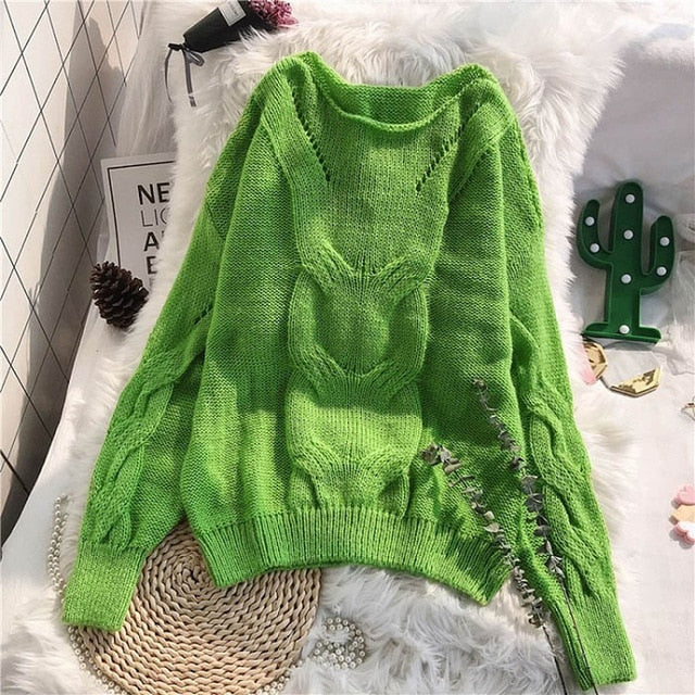 Genayooa Loose Autumn Knitting Sweater Pullovers Women Long Sleeve Ladies Jumpers Soft Hollow Out Sweater Woman Winter