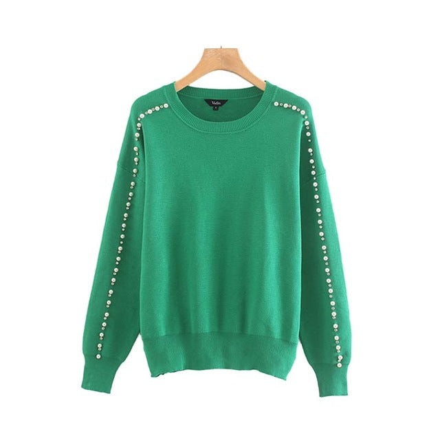 VAdim women sweet beading pearl demonds decorate knitted sweater long sleeve O neck stretchy pullover female green top HA421